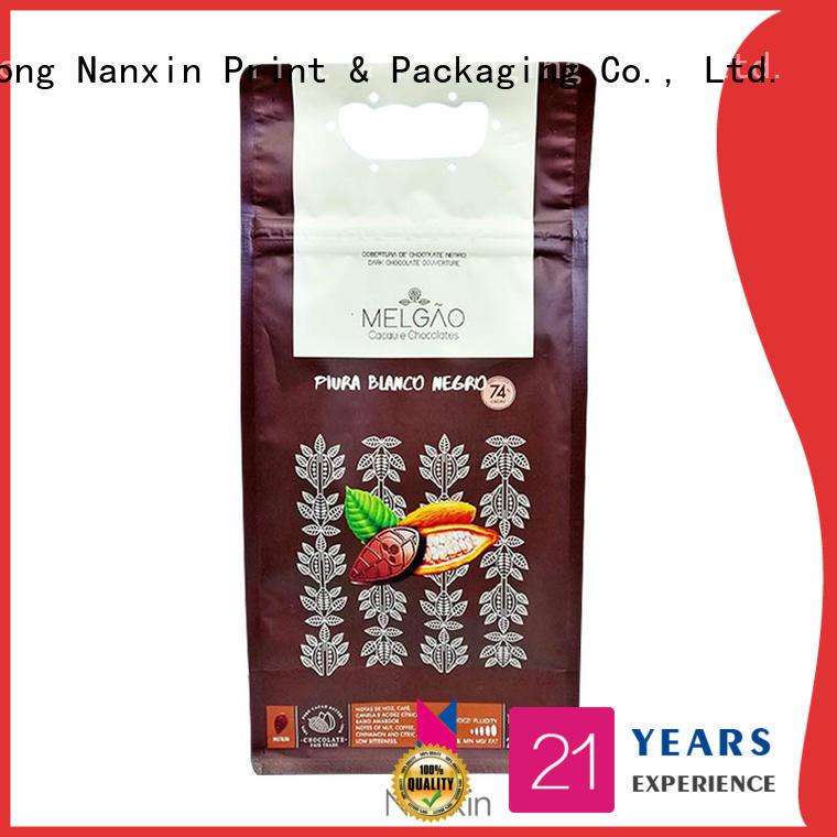 Nanxin Print & Packaging pet/pe flat bottom bag bright printing foods