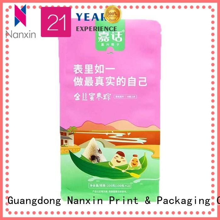 Nanxin Print & Packaging paper flat bottom gusset bags factory for snack