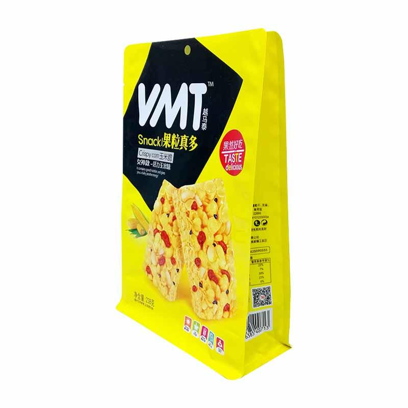 238g heat seal PET/VMPET/PE pouch packaging bag for crispy corn with side window