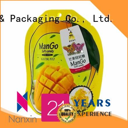 Nanxin Print & Packaging kraft paper stand up pouch packaging supply fpr snacks
