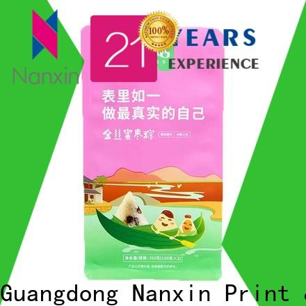 Nanxin Print & Packaging flat bottom shape gusset pouch supply for foods