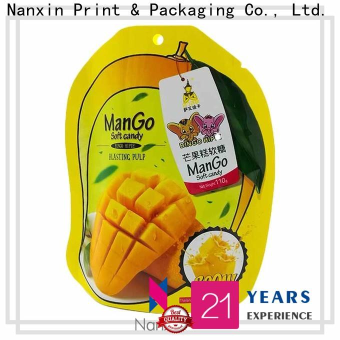 Nanxin Print & Packaging kraft paper standy pouch suppliers fpr snacks