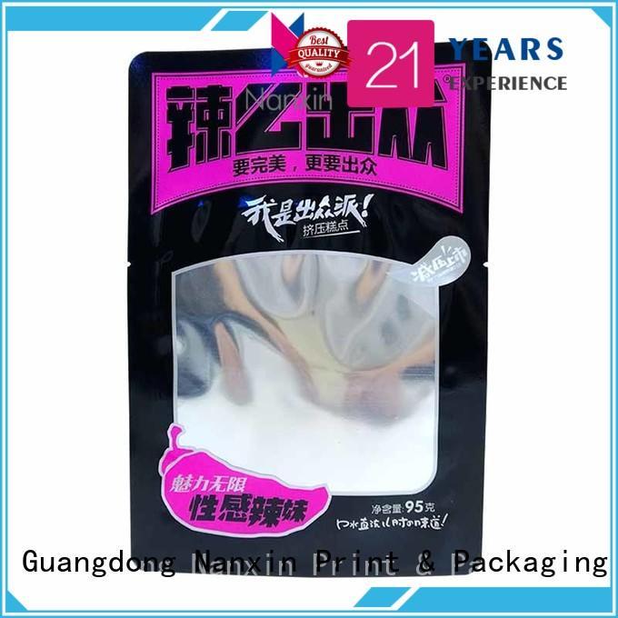 three side food packaging pouches vacuum packaging snacks Nanxin Print & Packaging