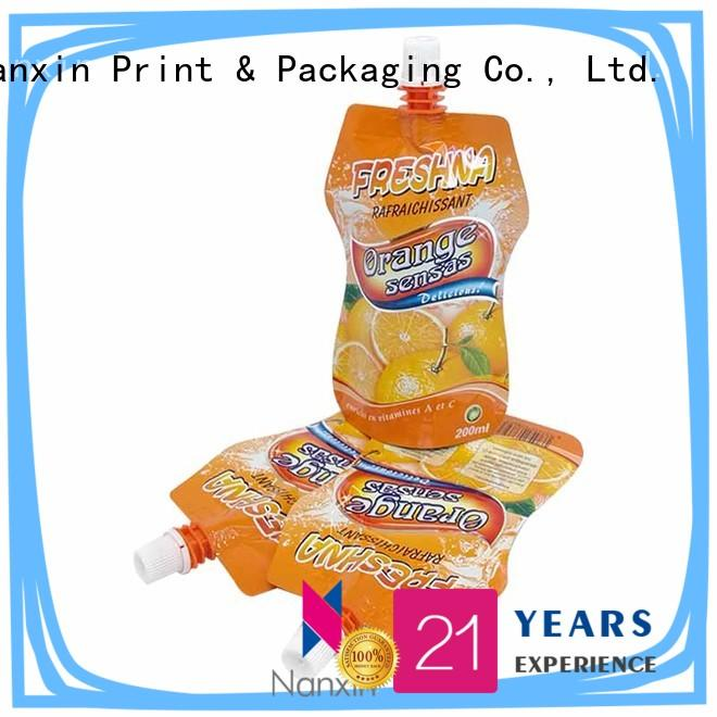 200ml stand up pouch with nozzle for orange juice and beverage