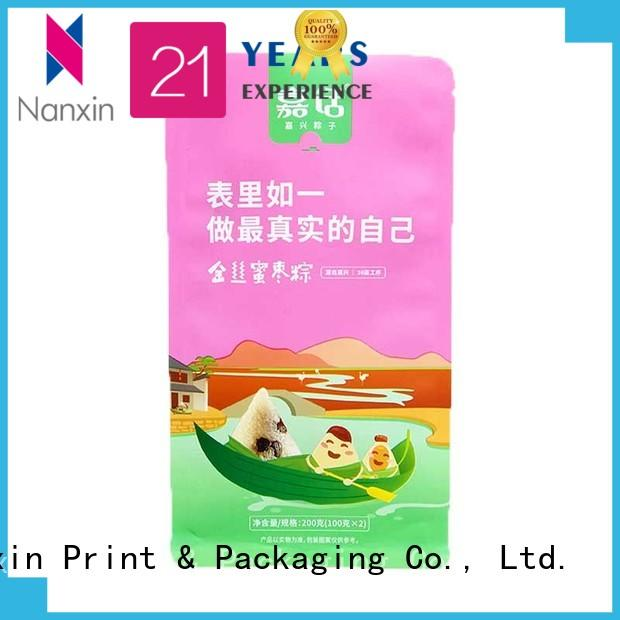 customized gusset pouch flat bottom shape bright printing cookies