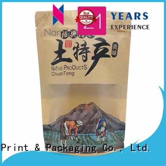 Nanxin Print & Packaging hanging hole stand up zipper bag factory fpr snacks