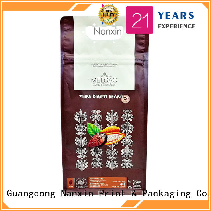 Nanxin Print & Packaging heat seal flat bottom gusset bags supply for foods