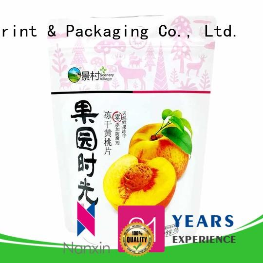 Nanxin Print & Packaging soft stand up ziplock bag supply fpr snacks