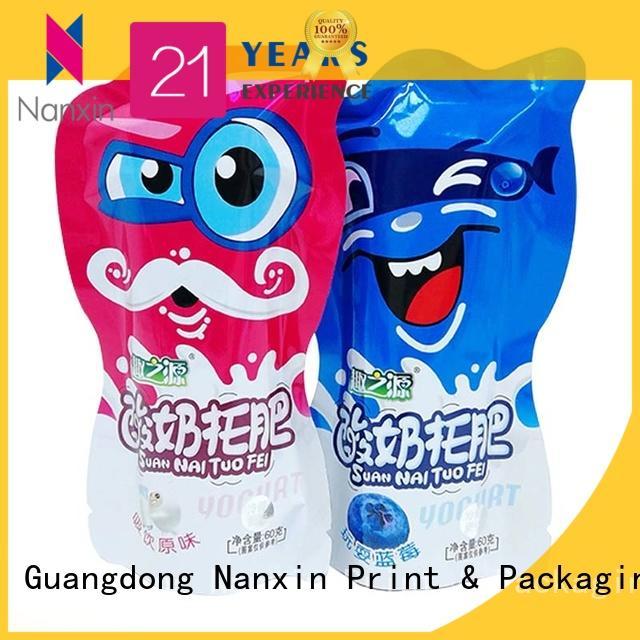 flat bottom food packaging bags pet/al/pe snacks Nanxin Print & Packaging