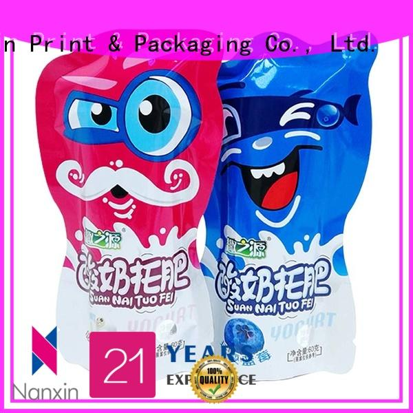 60g Three side seal pouch food packaging bag for yoghurt with cute shape