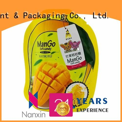 110g special shape packaging stand up pouch with window for mango soft candy