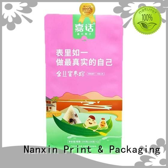 Nanxin Print & Packaging ziplock flat bottom pouch bright printing snack