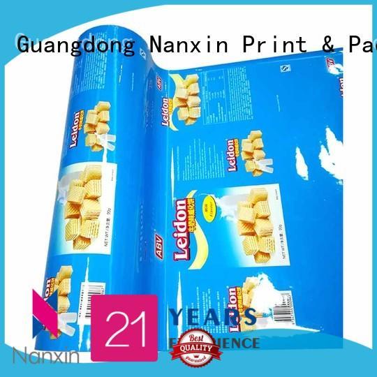 Nanxin Print & Packaging metallic luster flexible packaging film suppliers for cookies