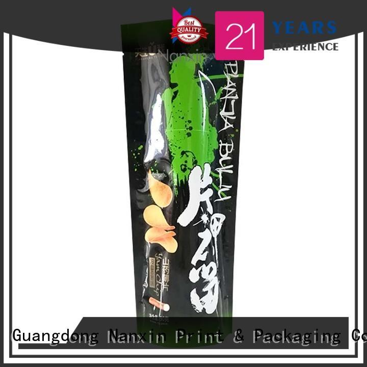 heat seal stand up ziplock bag hanging hole Snacks Nanxin Print & Packaging