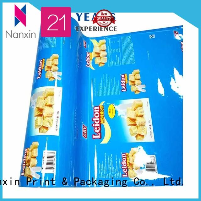 Customized PET/VMPET/PE automatic food packaging printed roll film for wafer biscuit or cookies