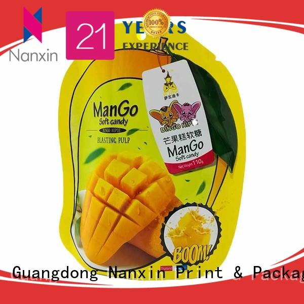 Nanxin Print & Packaging special shape standing up pouch manufacturers for dried fruit or vegetable