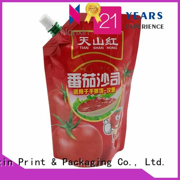 Nanxin Print & Packaging laminated films spout pouch packaging company for sauce