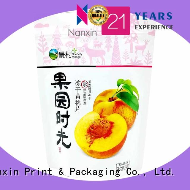 Nanxin Print & Packaging colorful stand up ziplock pouch easy reclosing Snacks