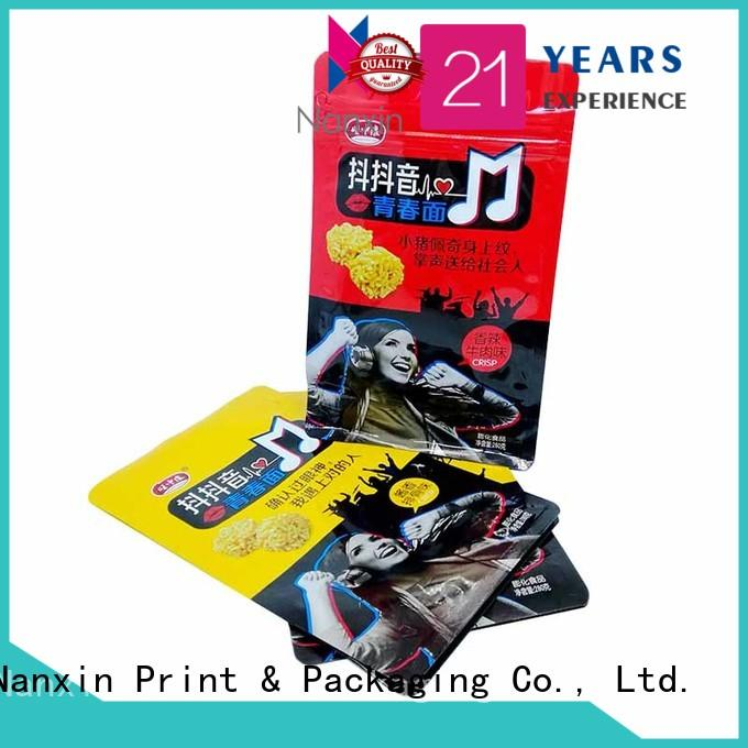 Nanxin Print & Packaging zipper flat bottom gusset bags bright printing foods