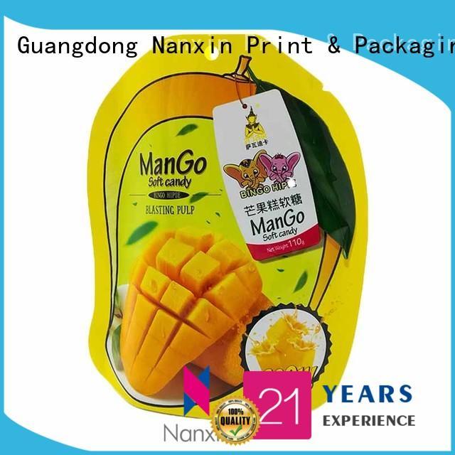 Nanxin Print & Packaging colorful stand up ziplock bag zipper Snacks