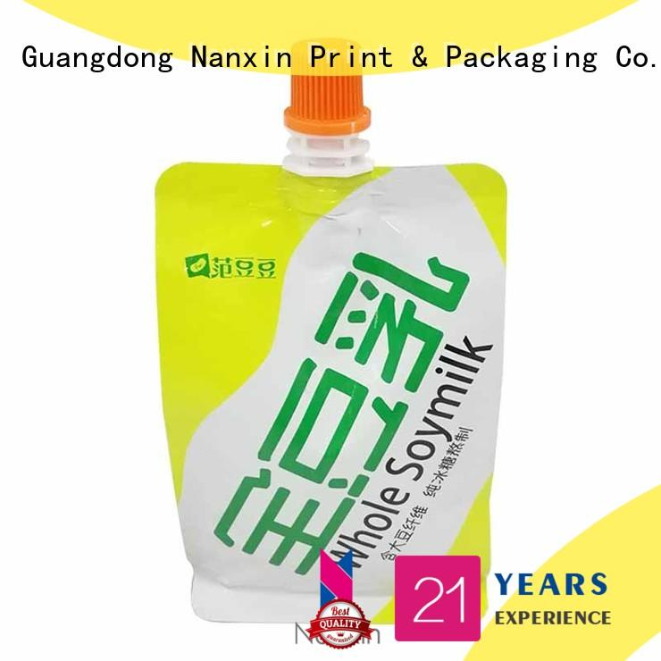 Factory 250ml flat pouch bag for soybean milk with nozzle